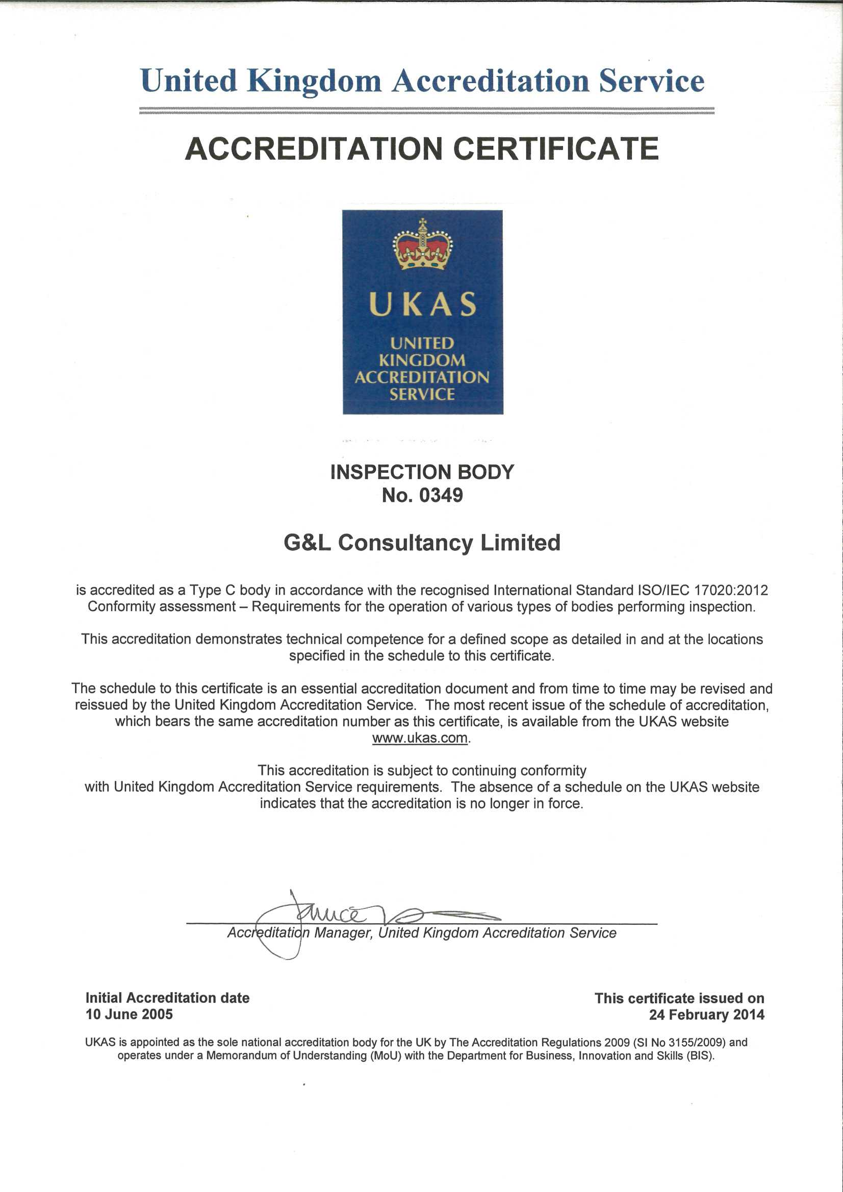 Ukas Inspection Certificate Gl Consultancy Ltd
