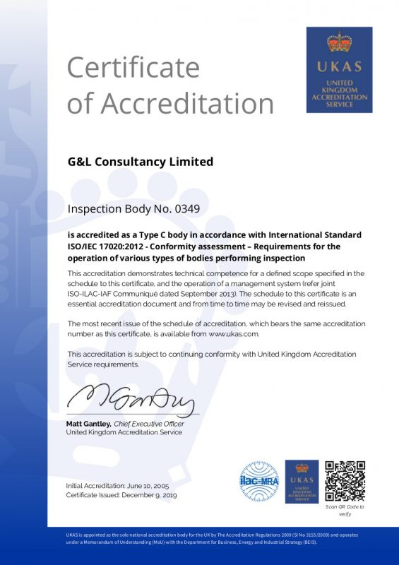 G & L CONSULTANCY UKAS INSPECTION CERTIFICATE - 2019 pic