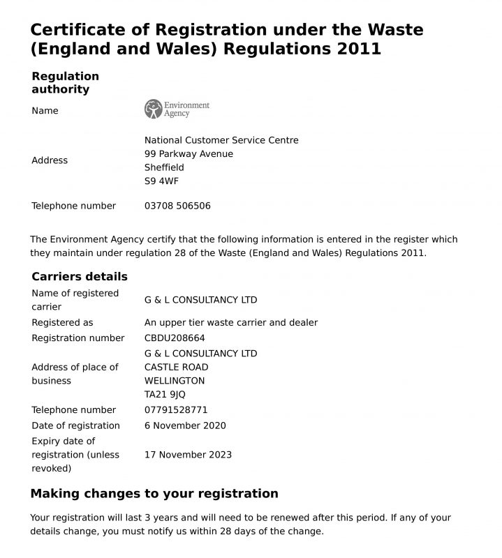 G&L Waste Carriers Licence - 17.11.23